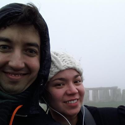 A and I at foggy Stonehenge