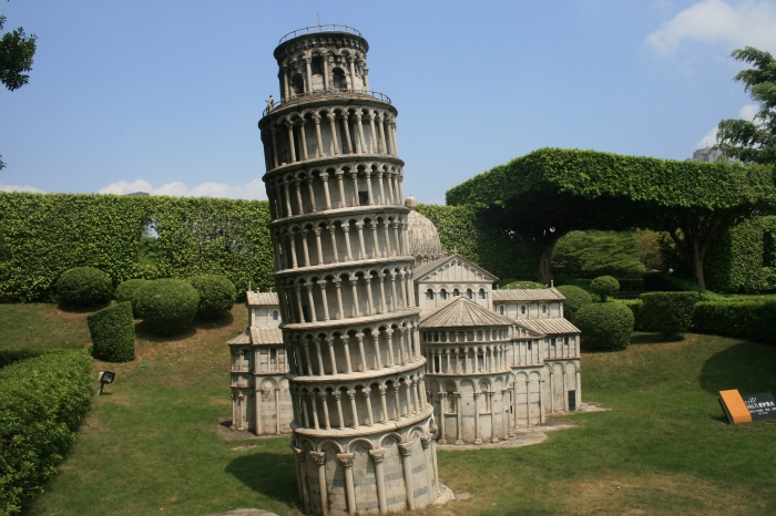Miniature version of the leaning tower of Pisa