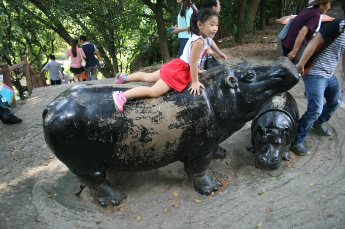 Chinese girl on a imitation of a hippo