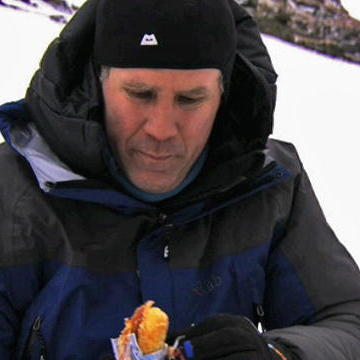 Will Ferrell eating the emergency Twinkies by himself on Bear Grylls' Man vs. Wild, discovery.com