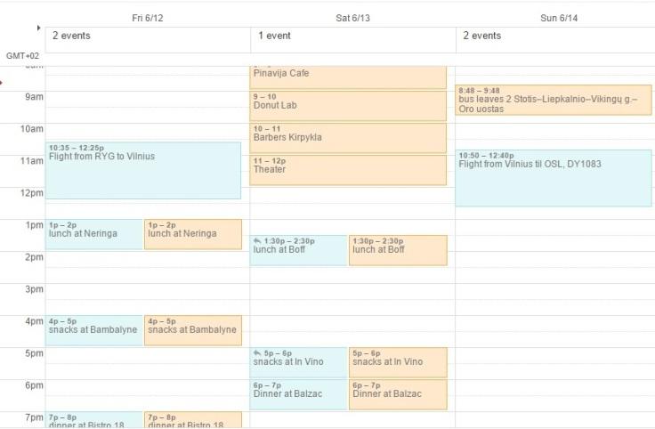 Vilnius schedule