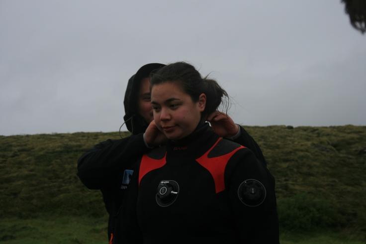 J in a drysuit in Iceland