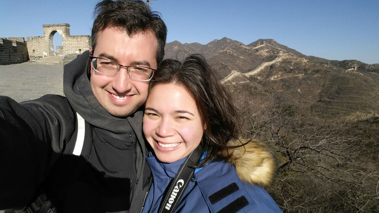 A and J in Beijing at the Great Wall, China, January 2015