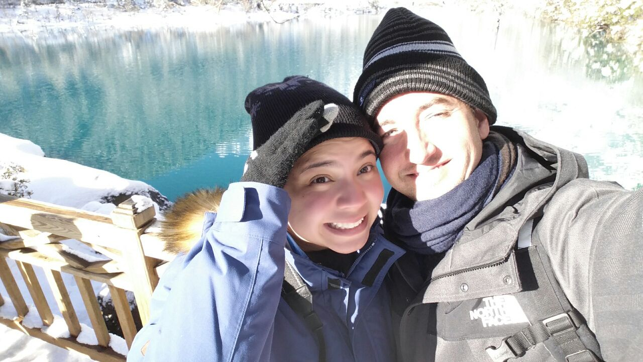 A and J in Lijiang at Diamon Lake, China,  January 2015