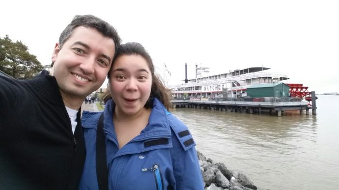 A and I at the Mississippi watching steamboats