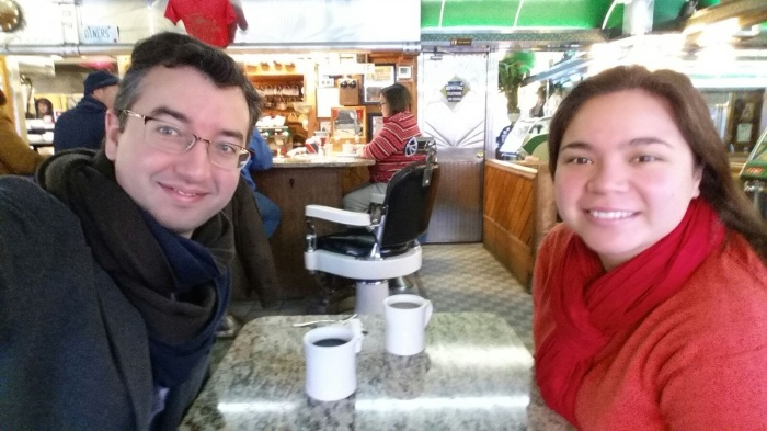 A and I on our last day in Philadelphia, Daddypop's