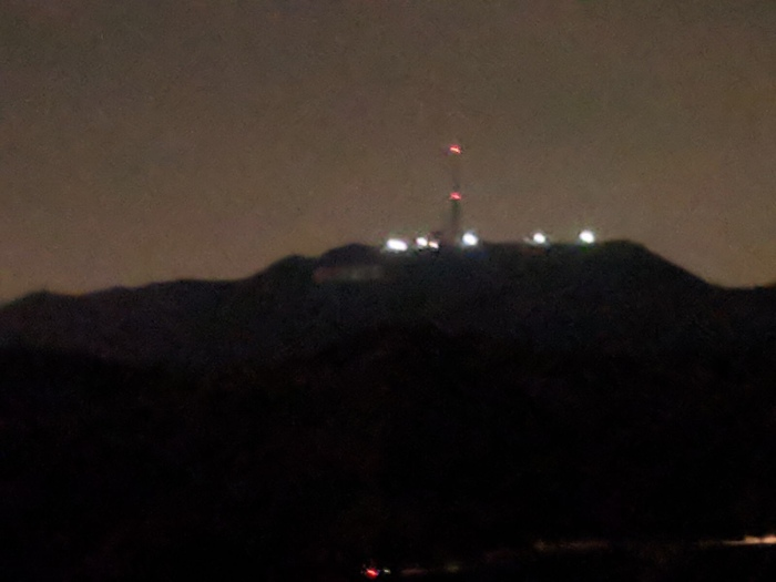 The illusion of the Hollywood sign at night...