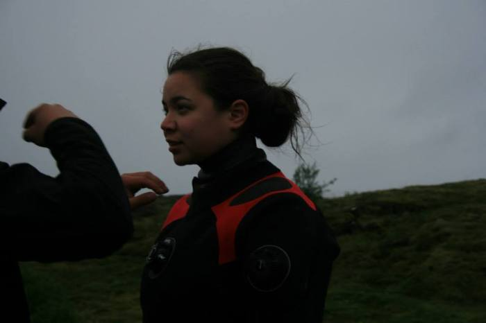 J in a dry suit in Iceland